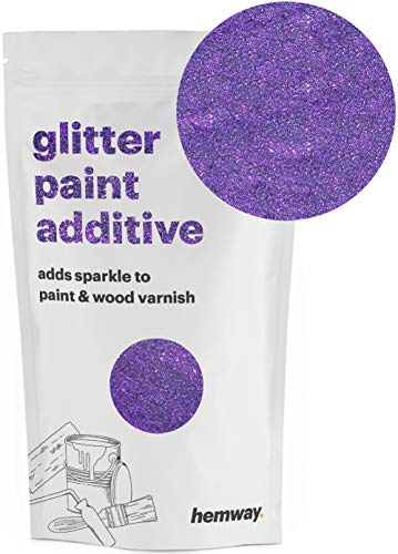 Hemway (Purple) Glitter Paint Additive Crystals 100g/3.5oz for Acrylic Latex Emulsion Paint - Interior Exterior Wall, Ceiling, Wood, Varnish, Dead flat, Matte, Gloss, Satin, Silk