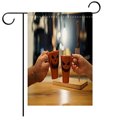 BEICICI Custom Personalized Garden Flag Outdoor Flag A Couple Celebrating Halloween Holding a Mug with a Drink with People Scary Pumpkin Jack o Lantern Best for Party Yard and Home Outdoor Decor ()