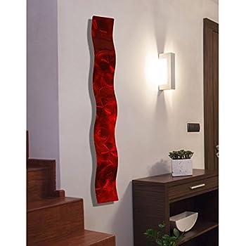 Amazon Com Red 3d Abstract Metal Wall Art Sculpture Wave Modern