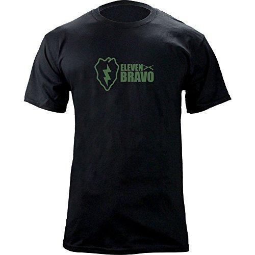 Army 25th Infantry Division 11 Bravo Infantry T-Shirt (2XL, Black/Green)