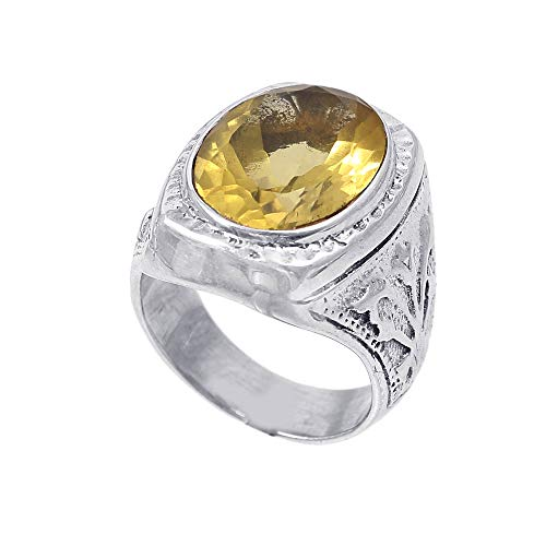 925 Sterling Silver Women Ring|Natural Gemstone Lemon Quartz Ring for Girls|Wedding Band for Women and Men|Statement Ring, Genuine Gemstone Ring, Engagement Ring|Ring Size 7.5 US (R123)