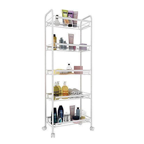 dtemple 3/4/5 Shelf Shelving Cart Organizer Wire Unite on Wheels Storage Organizer (5, Wide) by dtemple