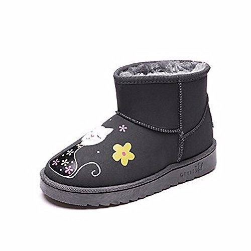 ZHUDJ Donna Piatto Nero Scarpe Gray Boots Casual Per Tacco Stivali Grigio Punta Snow Pu Tonda Winter rqrn5xT14