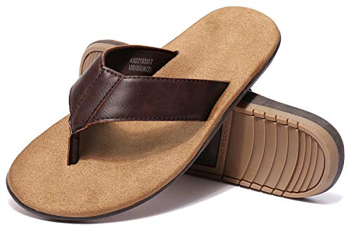 - CAMEL CROWN Mens Leather Flip Flops Sandals Waterproof Comfort Summer Basic Beach Surf Flip-Flops Indoor Outdoor Street Sport Thong Slippers for Men