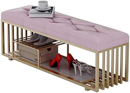 収納ベンチ パッド入りシートオーガナイザーストレージオスマン靴ベンチフットレストラック 柔軟 多用途 (Color : Pink, Size : 100x35x40CM)