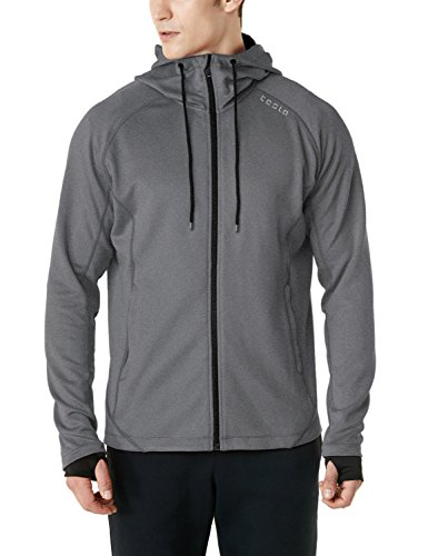 Tesla TM-MKJ03-LGY_Medium Men's Performance Active Training Full-zip Hoodie Jacket MKJ03 by Tesla