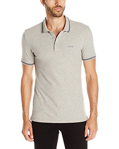 Armani Jeans Men's Tipped Short Sleeve Polo Shirt Grey L