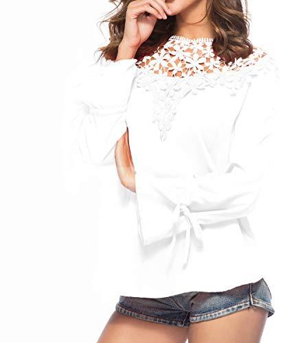 et Blanc Mode Haut Tops Printemps pissure Shirts Shirt Femmes Rond Dentelle Mousseline Chemisiers Automne Blouses Manches T JackenLOVE Casual Longues Col qR5WFI1fwI