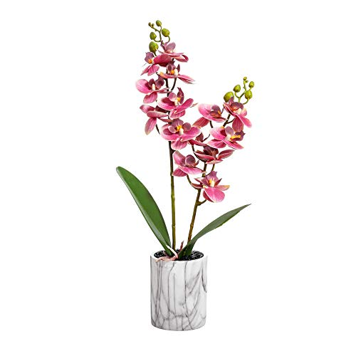 16 inch Artificial Phalaenopsis Floral Arrangement in Imitation Patterned Marbled Ceramic Vase,Decorative Artificial Orchid Flower Bonsai (pink) (Orchid Pink Artificial)