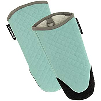 Cuisinart Silicone Oven Mitts, 2pk - Heat Resistant Quilted Oven Gloves to Safely Handle Hot Cookware - Soft Insulated Deep Pockets, Non-Slip Grip and Convenient Hanging Loop - Pastel Turquoise
