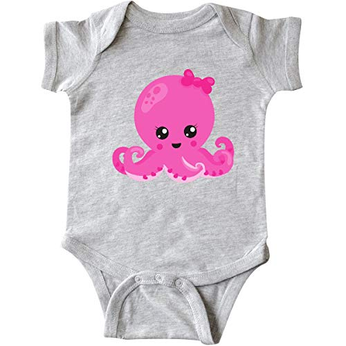 inktastic Pink Octopus, Octopus with Pink Infant Creeper 6 Months Heather Grey