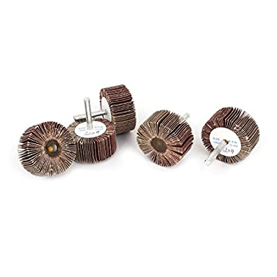 Uxcell 320 Grit Fixed Handle Grinding Flap Wheel Disc (5 Piece), 50mm x 25mm x 6mm