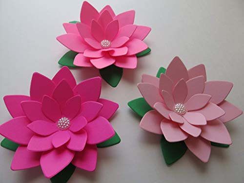 Set-of-3-Paper-Lotus-Flowers-Shades-of-Pink-Water-Lilies-4-Inch-Beautiful-Blooms