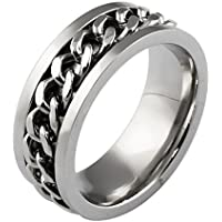 AnaZoz Jewelry fashion spinner rings for men and women 316 L stainless steel chain cuban style wedding