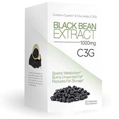 Best Selling Pure Black Bean Extract, 1000 mg Servings - C3G Pure Black Bean Extract, 60 Capsules (Only 2 Capsules/day) - As Seen On TV - All Natural Weight Loss - Fat Loss - Fat Burn - Powerful Antioxidant - Premium Quality - Proven Weight Loss Supplemen