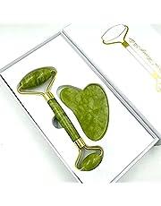 Natural Jade Roller & Gua Sha Set Beauty Skin Care tools (Green)