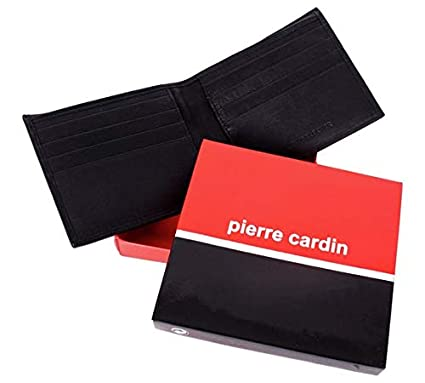 Pierre Cardin Mens Black Leather Wallet and Gift Box