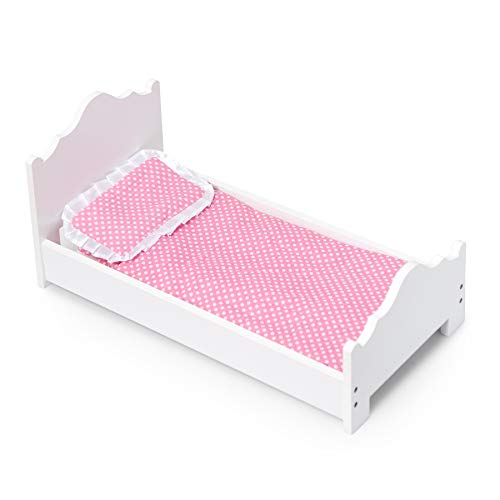 Wildkin Single Doll Bed, Features Sturdy Construction and Classic Wood Design, Includes Mattress, Pillow, and Blanket, Compatible with American Girl Dolls - White