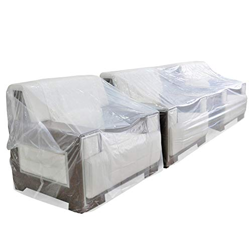 TopSoon Plastic Couch Cover for Storage Dust-Proof Plastic Sofa Cover Waterproof Patio Furniture Cover 134-Inch Wide by 46-Inch Height