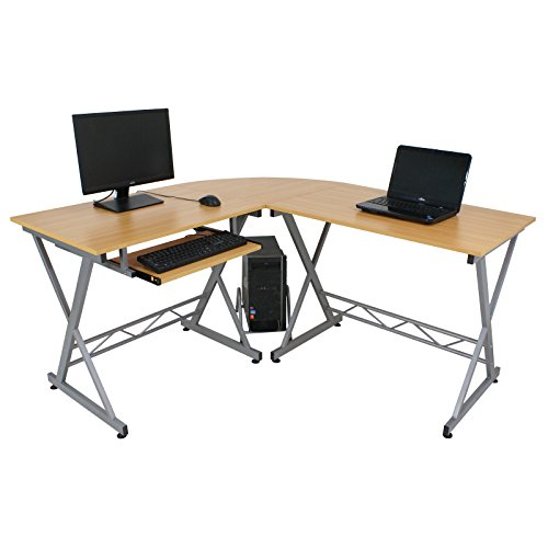 Super Deal L-Shape Corner Computer Desk PC Glass Laptop Table Workstation Home Office Black (Beech Wood) by SUPER DEAL