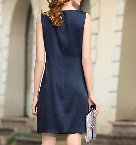 Knee Damen Cocktail S9913 Übergröße Kleid DISSA Kleider Abendkleid Seide Einfarbig Long Blau Rt5HwH