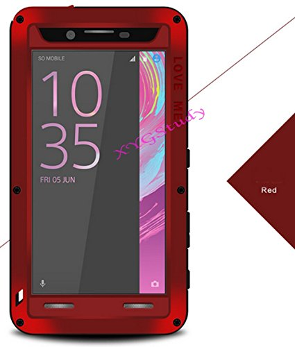 NEW Aluminum Gorilla Glass Metal Waterproof Shockproof Military Heavy Duty Armor Bumper Cover Case for Sony Xperia X Performance @CoolWind (red)