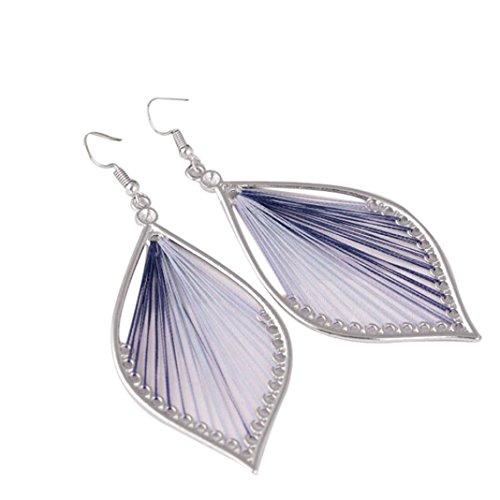 - Muranba 1 Pair Sterling Silver Leaf Tassel Eardrop Earring (Blue)