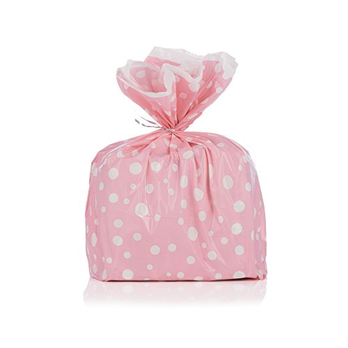 Pink Polka Dot Wastebasket - Pink Polka Dot Gift Wrap Bags with Silver Metallic Ties - Package of 8 - Reusable Biodegradable Plastic - 17.75 By 19 Inches by DESIGNERLINERS