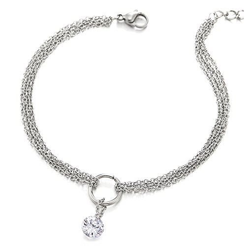 COOLSTEELANDBEYOND Stainless Steel Multi-Strand Anklet Bracelet with Dangling Charms of Cubic Zirconia 8mm and Jingle Bell by COOLSTEELANDBEYOND