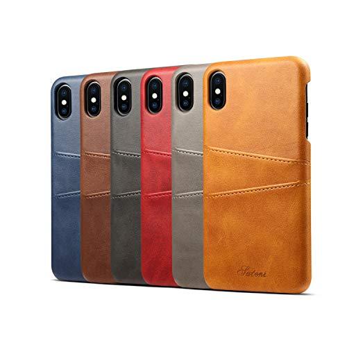 消す不変飛行機iPhone XS Max/XS/XR ケース カード 収納 背面 カバー Teyissalia スマホ バック カバー カード入れ 手作り 薄 軽量 合皮レザー シンプル (iPhone XS Max, グレー)