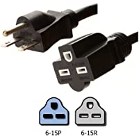 NEMA 6-15 Extension Power Cord - 15 Foot, 15A/250V, 14 AWG - Iron Box Part # IBX-6150-15