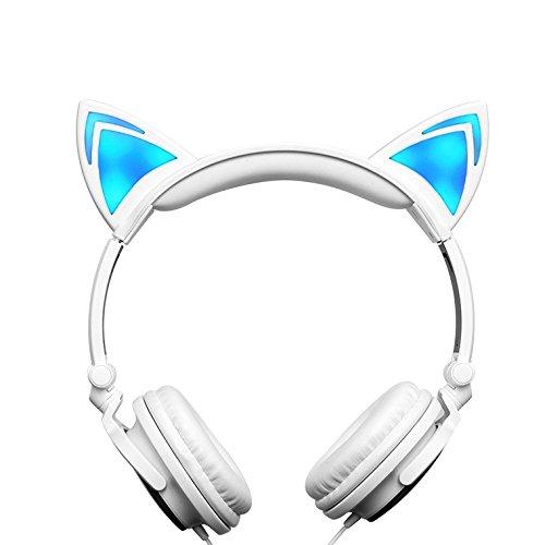 Kids Headphones Childrens Cat Ear Headphones (White)