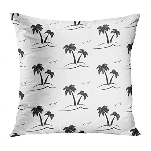 Suike Throw Pillow Cover Palm Trees Black Silhouette on White Hidden Zipper Home Sofa Decorative Cushion Case 18x18 Inch Square Printed -