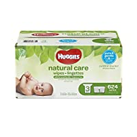 HUGGIES NATURAL CARE Fragrance-Free & Hypoallergenic Baby Wipes (1 Tub, 3X Refill Packs, 624 Count)