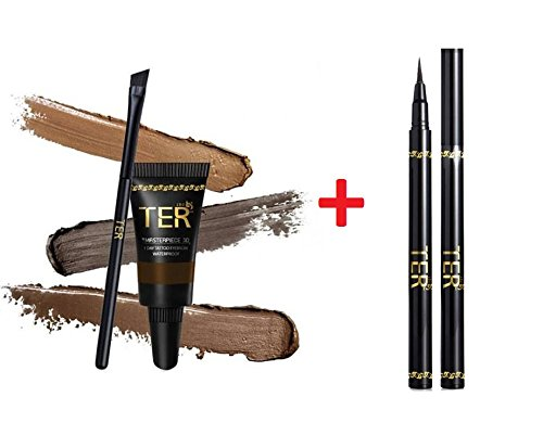 TER Masterpiece 3D Eyebrow Tattoo Waterproof, Dark Brown + TER I'm Matte Waterproof Pen Liquid Eyeliner, Black