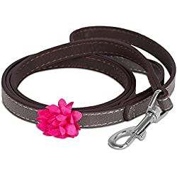 Internet's Best Dog Leash with Flower | 4 Feet x .5 Inch | Faux Leather | Grey & Brown with Sparkles | Pet Leash