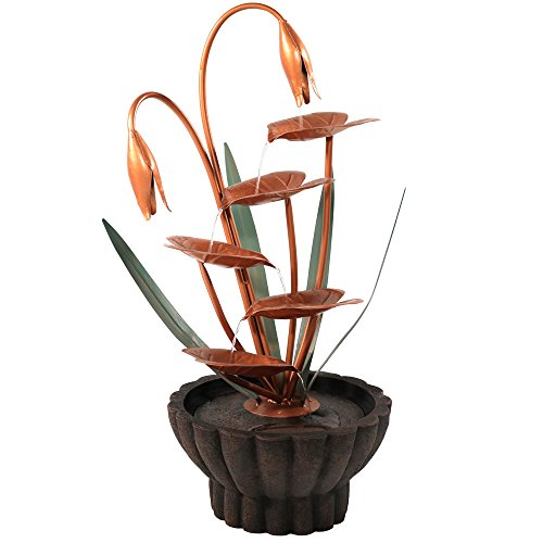 Copper Waterfalls Leaf (Sunnydaze Copper Flower Petals with Five Tier Leaves Outdoor Water Fountain, 34 Inch, Includes Electric Pump)