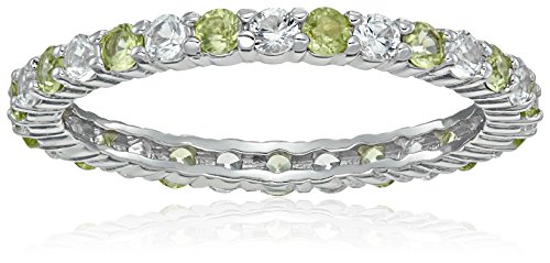 Rhodium Plated Sterling Alternating Eternity