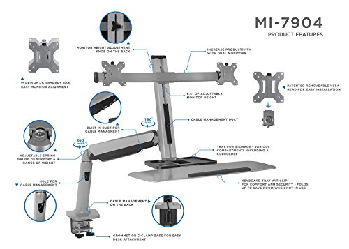 Mount It Stand Up Workstation With Dual Monitor Mount