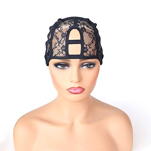 Colorfulwigs U Part Lace Wig Cap Stretch Wig Caps For Making Wigs Adjustable Weft Wig Cap 2Pieces Lot Black Color Mesh Weaving Wig Cap (U Part Cap) (Best Weaving Cap For U Part Wig)
