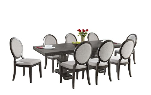 Abbey Avenue D-KNO-RFSC9P 9 Piece Knox Dining Set- Table & 8 Round Fabric Chairs, Gray Oak