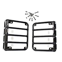 IParts Black Rear Euro Tail Light Guard for Jeep Wrangler JK JKU Unlimited Rubicon Sahara X Off Road Sport Exterior Accessories Parts 2007 2008 2009 2010 2011 2012 2013 2014 2015 2016 2017