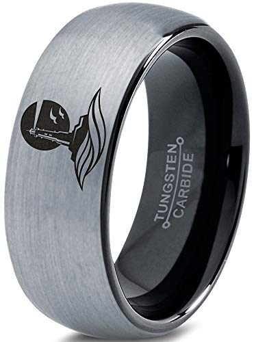Zealot Jewelry Tungsten Lighthouse Tower Building Structure Light Band Ring 8mm Men Women Comfort Fit Black Dome Brushed Gray Polished Size 12.5 ()