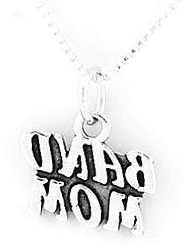 (Sterling Silver Band MOM Charm with 16 INCH Box Chain Necklace Vintage Crafting Pendant Jewelry Making Supplies - DIY for Necklace Bracelet Accessories by CharmingSS)
