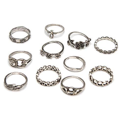 ZEALMER Statement Ring Set Hollow Infinity Flower Sun Moon Vintage Midi Finger Ring for Women (Sun And Moon Best Friend Rings)
