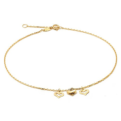 LoveBling 10K Yellow Gold .50mm Diamond Cut Rolo Chain with 3 Middle Heart pendants Anklet Adjustable 9