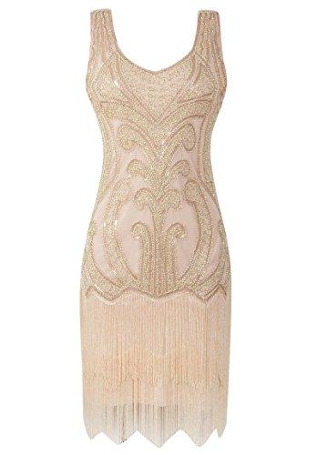 1920s Gatsby Dress (MESISAN Women's 1920s Flapper Dresses V Neck Vintage Gatsby Bead Sequin Fringed Great Gatsby Dress(GOLD S))