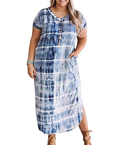 (Womens Plus Size Long Dresses V Neck Short Sleeve Tie Dye Split T Shirt Casual Summer Maxi Dress with Pockets Blue)