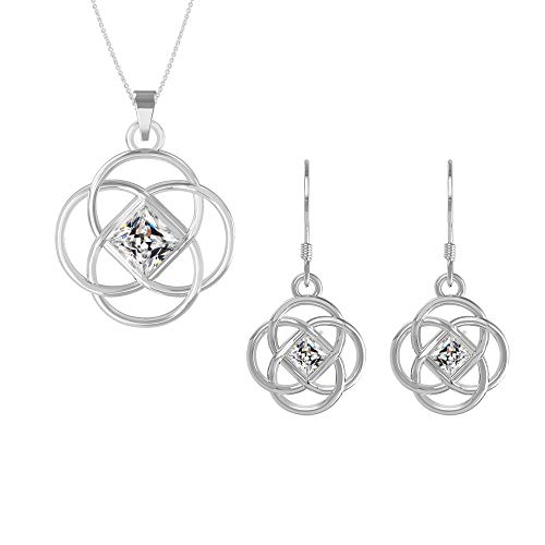 Swarovski Pendant Necklace Earrings Studs Sterling Silver April Birthstone Diamond Color Celtic Knot Jewelry Set for Women and Girls
