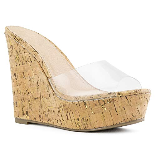 RF ROOM OF FASHION Open Toe Transparent Band Slide On Platform Wedge Sandals Cork Size.8